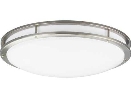 Progress Lighting Modular Fluorescent Brushed Nickel Three-Light Flush Mount Light