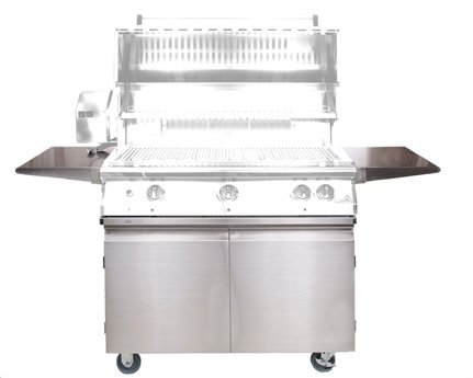 PGS Grills Legacy Stainless Steel Portable Cart for Pacifica Grills with Two Side Shelves