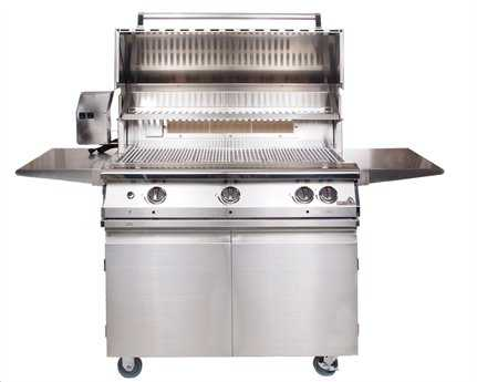 PGS Grills Legacy Pacifica Gourmet 39'' On-Cart Propane BBQ Grill with Rear Burner and Rotisserie