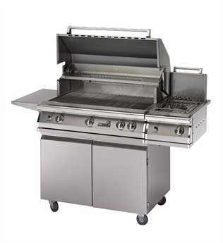 PGS Grills Legacy Pacifica Gourmet 39'' On-Cart Natural Gas BBQ Grill with Rear/Side Burner and Rotisserie