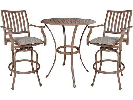 Panama Jack Island Breeze Aluminum Three Piece Slatted Pub Table Set