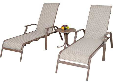 Panama Jack Island Breeze Aluminum Three Piece Sling Chaise Lounge Set