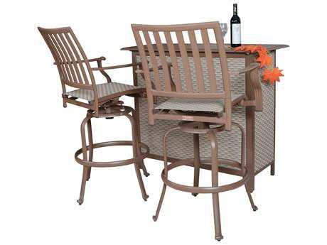 Panama Jack Island Breeze Aluminum Three Piece Slatted Bar Table Set