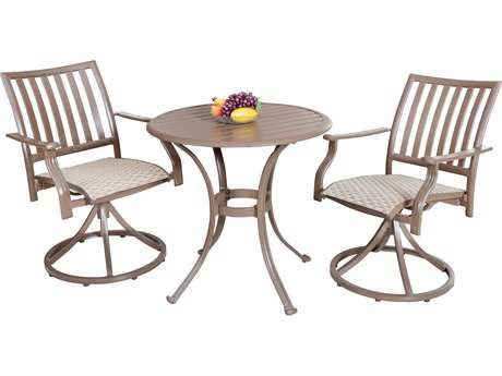 Panama Jack Island Breeze Aluminum Three Piece Slatted Dining Bistro Set