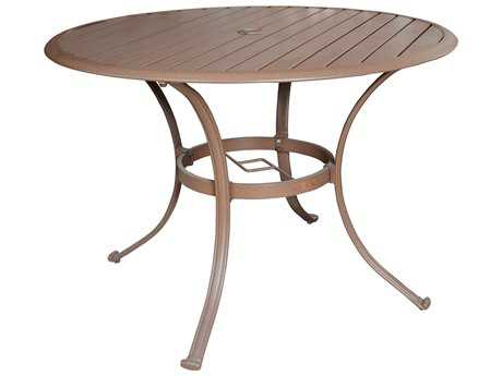 Panama Jack Island Breeze Slatted Aluminum 48 Round Dining Table with umbrella hole