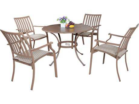 Panama Jack Island Breeze Aluminum Five Piece Slatted Dining Set