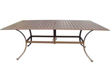 Panama Jack Island Breeze Slatted Aluminum 72 x 42 Rectangular Dining Table with umbrella hole