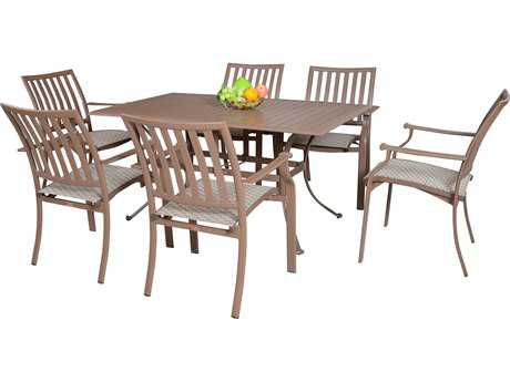 Panama Jack Island Breeze Aluminum Seven Piece Slatted Dining Set