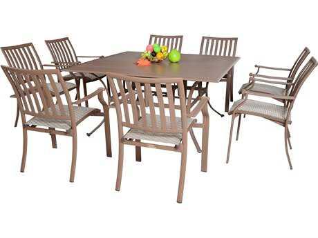 Panama Jack Island Breeze Aluminum Nine Piece Slatted Dining Set