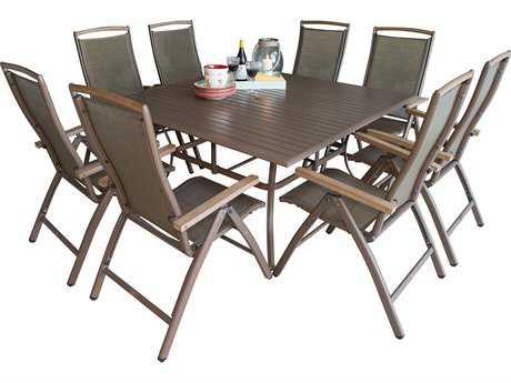 Panama Jack Island Breeze Aluminum 9 PC Slatted Dining Group