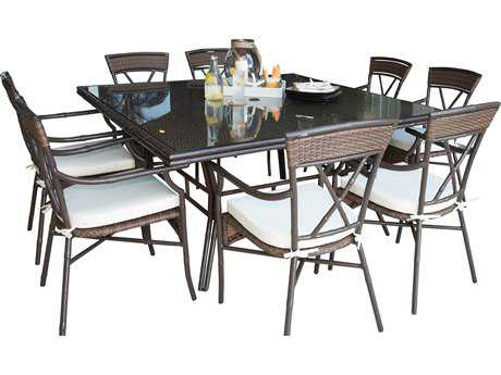 Panama Jack Rum Cay Aluminum 9 PC Dining Set