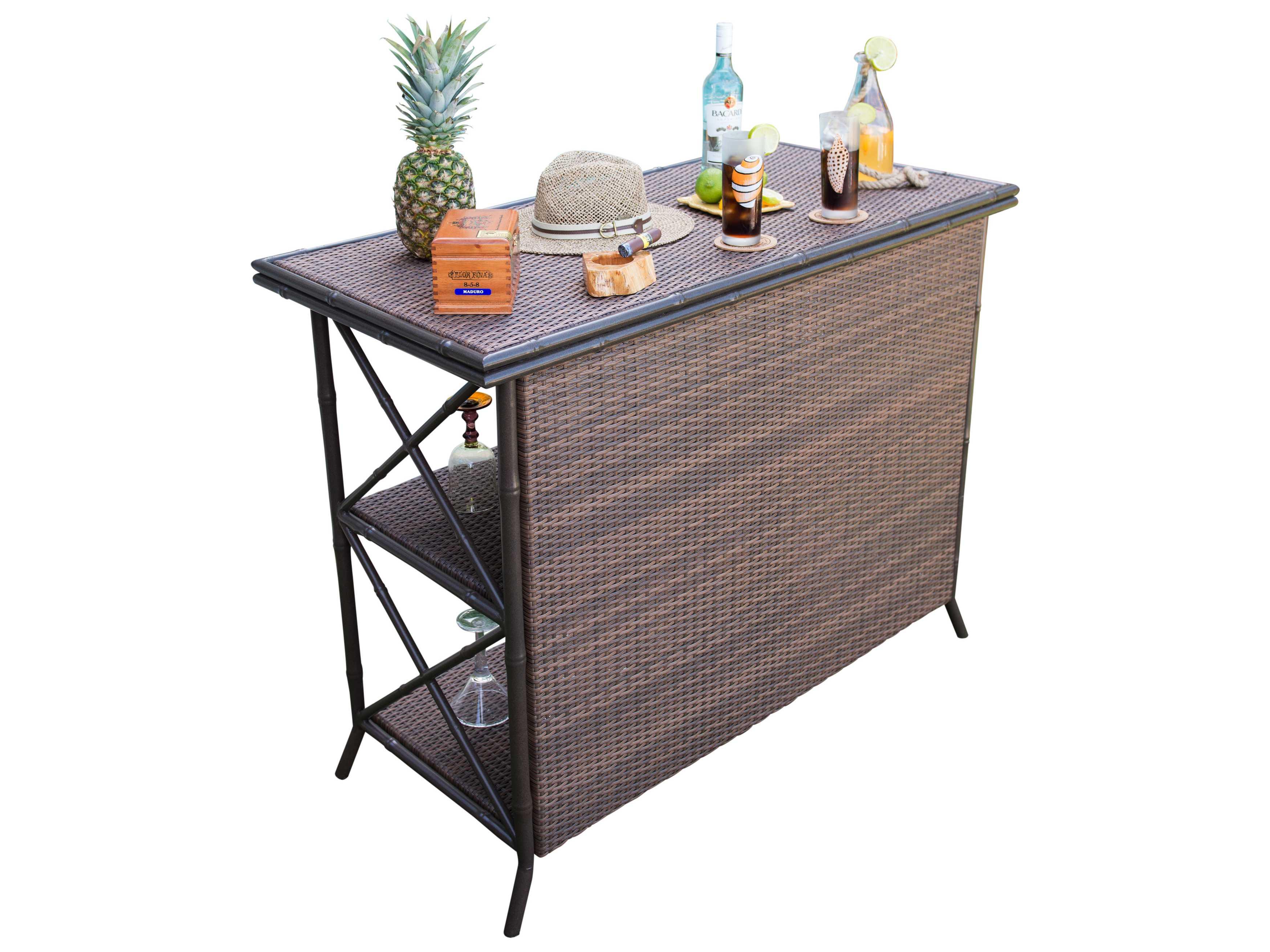panama jack rum cay aluminum 50 x 24 rectangular bar with glass pjpjo1201atqbr. Black Bedroom Furniture Sets. Home Design Ideas