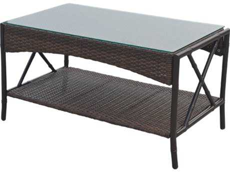 Panama Jack Rum Cay Aluminum 32 x 19 Rectangular Coffee Table with glass