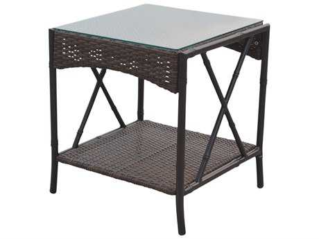 Panama Jack Rum Cay Aluminum 19 Square End Table with glass