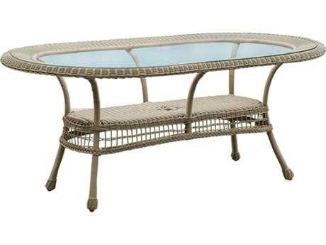 Panama Jack Carolina Beach Aluminum Wicker 72 x 30 Oval Dining Table