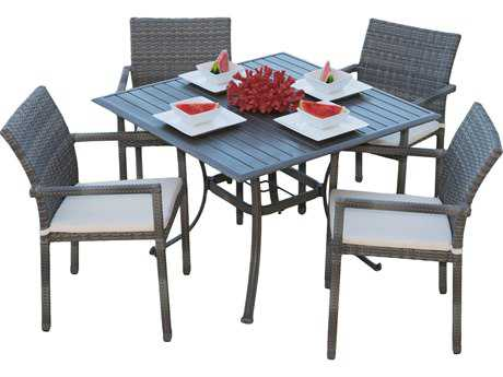 Panama Jack Newport Beach Wicker 5 PC Armchair Dining Set