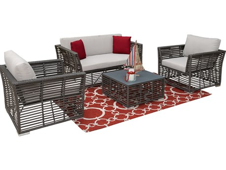 Panama Jack Graphite Wicker Cushion Lounge Set