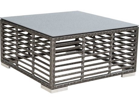 Panama Jack Outdoor Graphite Wicker 28''Wide Square Glass Top Coffee Table