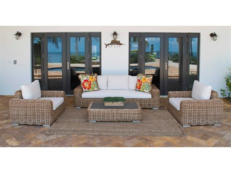 Panama Jack Outdoor Cancun Wicker Cushion 4 Piece Lounge Set
