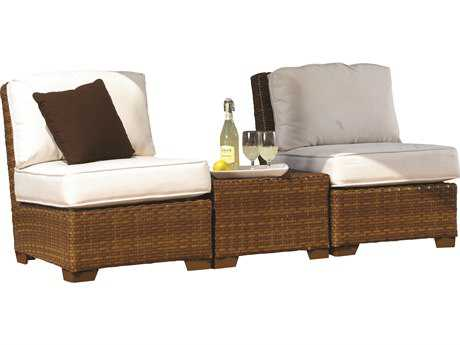 Panama Jack St. Barth's Wicker Three Piece Armless Lounge Set