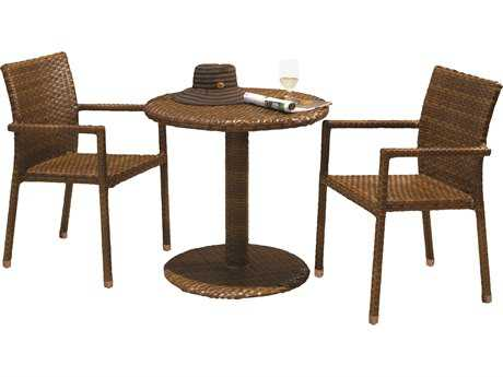 Panama Jack St. Barth's Wicker 3 Piece Bistro Arm Chair Set
