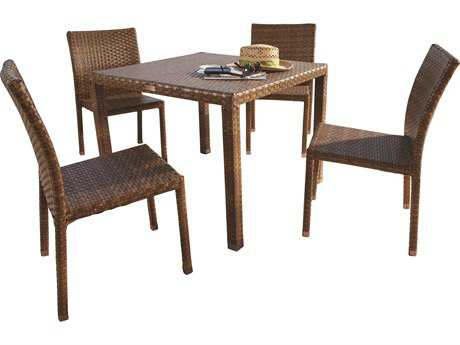 Panama Jack St. Barth's Wicker Five Piece Side Chair Dining Set