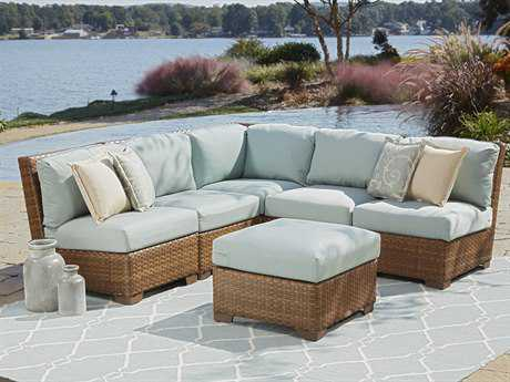 Panama Jack St. Barth's Wicker Six Piece Sectional Set