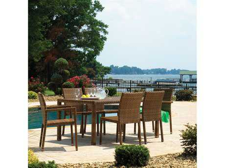 Panama Jack St Barths Brown Pine Wicker Dining Set