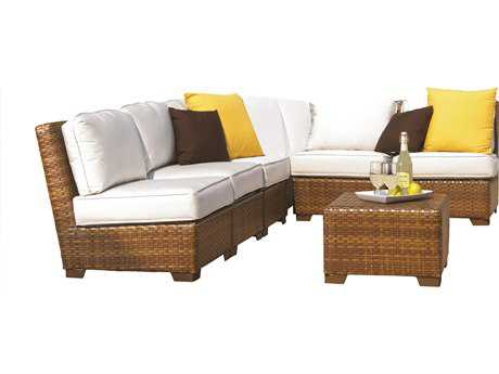 Panama Jack St. Barth's Wicker Seven Piece Corner Modular Sectional Set