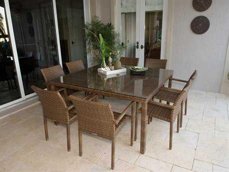 Panama Jack St. Barth's Aluminum Nine Piece Arm Chair Dining Set