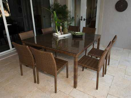 Panama Jack St. Barth's Aluminum Nine Piece Side Chair Dining Set