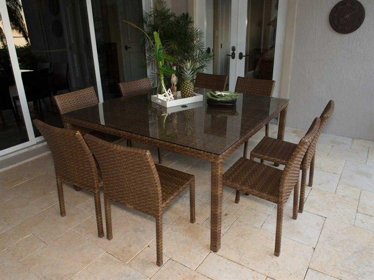 Panama Jack St. Barthu0027s Aluminum Nine Piece Side Chair Dining Set |  PJO 3001 BRN 9PCS