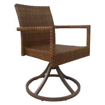 Panama Jack St. Barth's Wicker Swivel Dining Arm Chair (Set of 2)