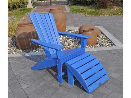 Panama Jack Adirondack Resin Two Piece Blue Chair & Ottoman Set
