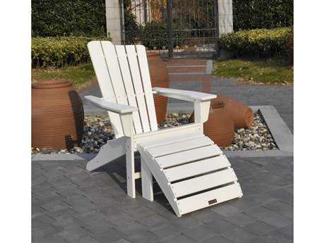 Panama Jack Adirondack Resin Two Piece White Chair & Ottoman Set