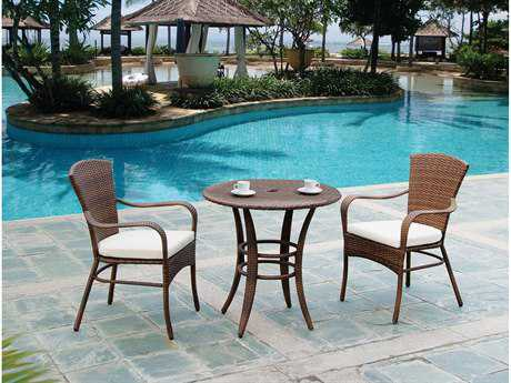Panama Jack Key Biscayne Wicker Three Piece Bistro Dining Set