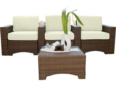 Panama Jack Key Biscayne Wicker 4 PC Theater Seating