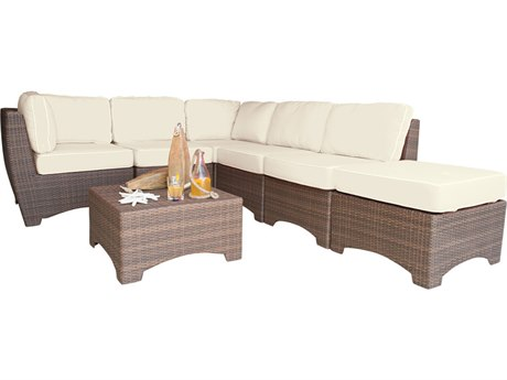 Panama Jack Key Biscayne Wicker 7 PC Sectional