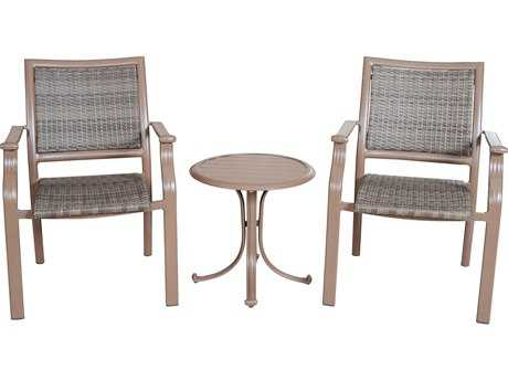 Panama Jack Island Cove Wicker Three Piece Slatted Balcony Lounge Set