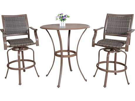 Panama Jack Island Cove Wicker Three Piece Swivel Pub Dining Set