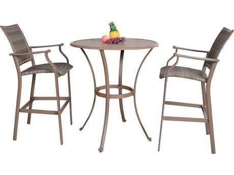 Panama Jack Island Cove Wicker Three Piece Slatted Pub Dining Set