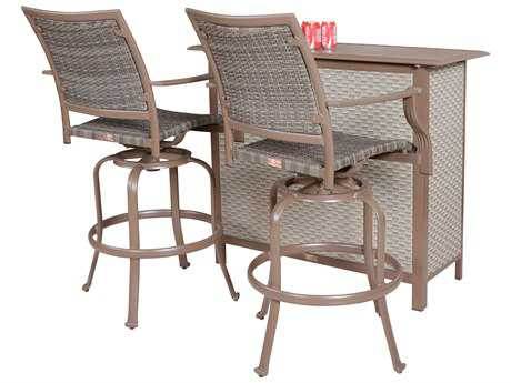 Panama Jack Island Cove Wicker Three Piece Swivel Bar Dining Set