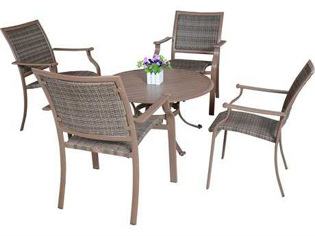 Panama Jack Island Cove Wicker Five Piece Dining Set
