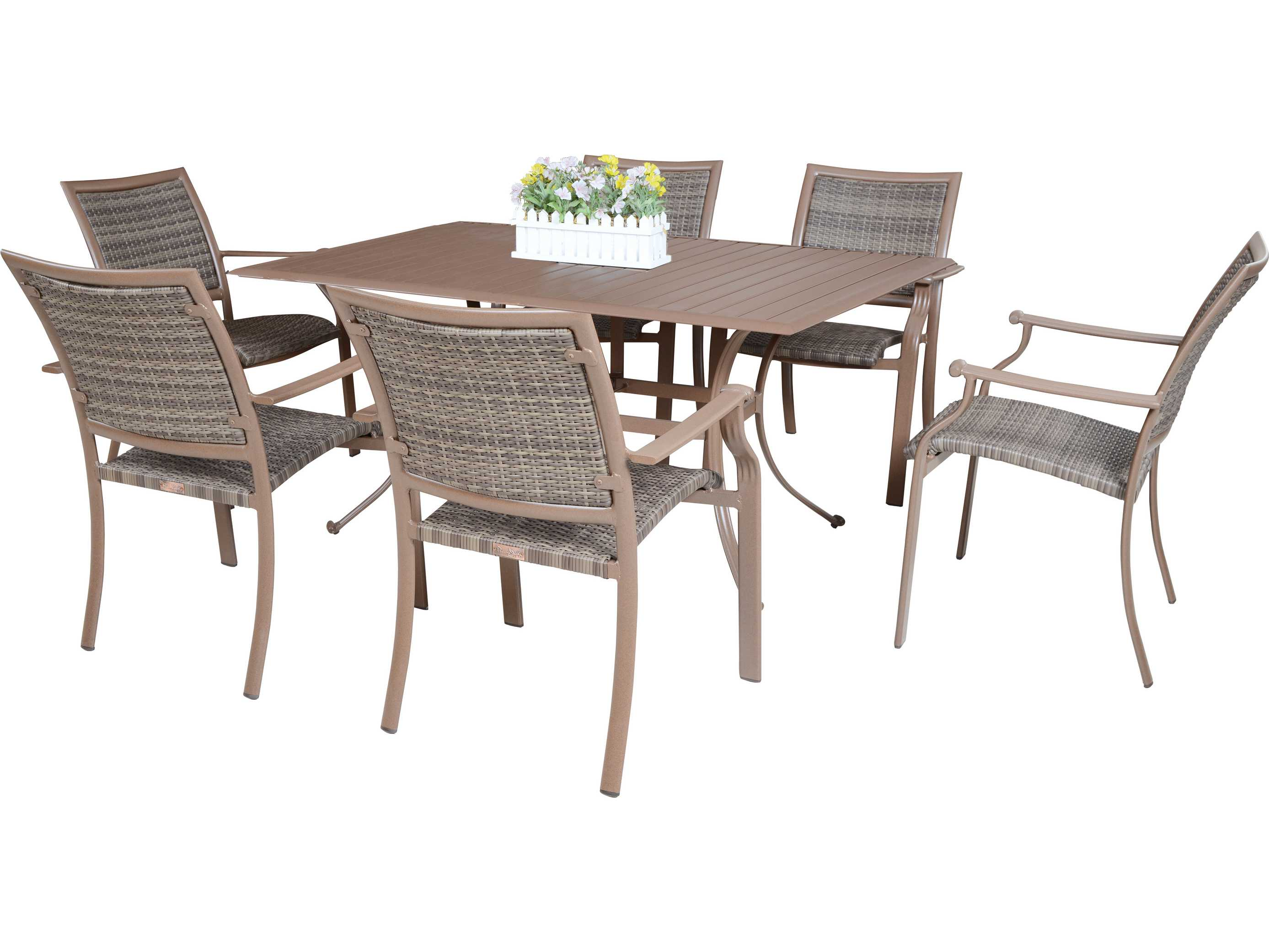 Panama Jack Island Cove Wicker Seven Piece Dining Set