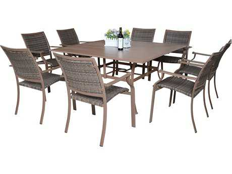 Panama Jack Island Cove Wicker Square Nine Piece Dining Set