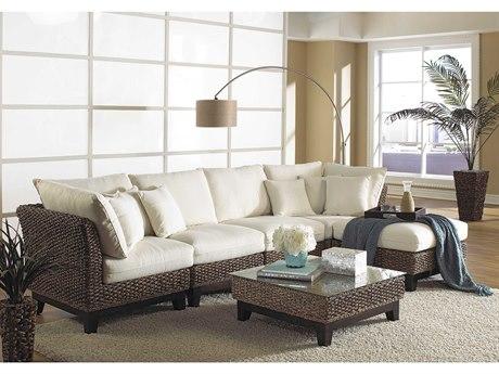 Panama Jack Sunroom Sanibel Wicker Cushion 6 Piece Sectional Lounge Set