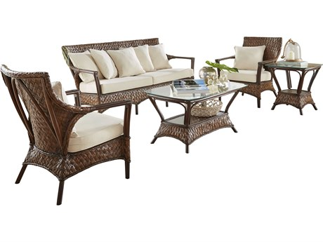 Panama Jack Sunroom Espresso Wicker Cushion 5 Piece Lounge Set