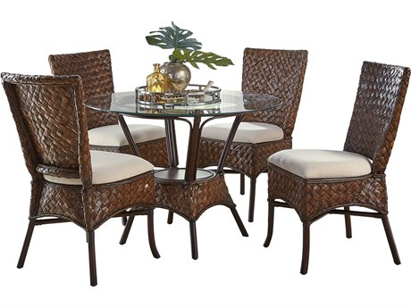 Panama Jack Sunroom Espresso Wicker Cushion 6 Piece Dining Set