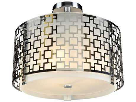 PLC Lighting Ethen Polished Chrome 16'' Wide Three-Light Fluorescent-GU24 Semi-Flush Mount Light