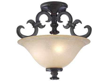 PLC Lighting Lexington Oil Rubbed Bronze 18'' Wide Three-Light Incandescent Semi-Flush Mount Light